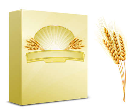 Diseño de paquete. Harina de trigo o pasta, macarrones, espaguetis.  Ilustración de vector