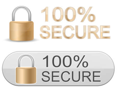 secure security: Metallic padlock. 100% Secure. SSL Certificates Sign for website.