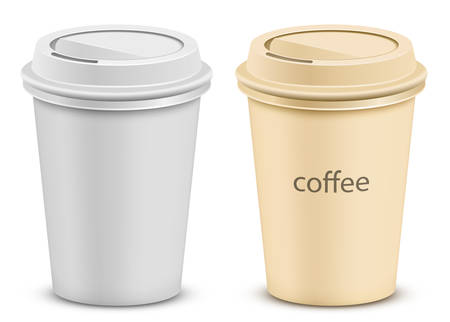 polystyrene: Plastic coffee cup with lid. Two color variations.