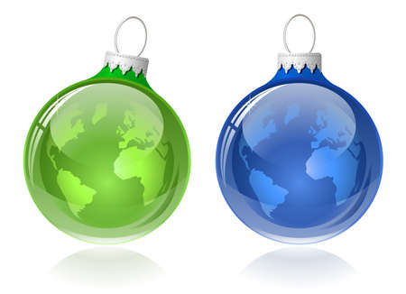 babble: Globe christmas balls. Christmas baubles with World map. Illustration