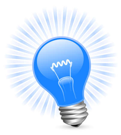 beam of light: Light bulb with beams Illustration