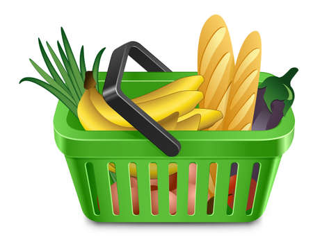 empty basket: Green shopping cart full of products Illustration