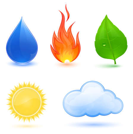Highly detailed Vector illustration of nature symbols.  Blue water drop, red fire, green leaf, sun and cloud. Stock Vector - 8571151