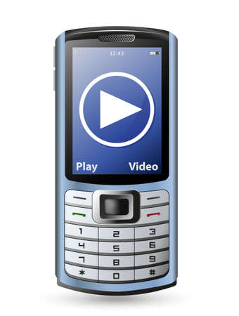 gsm phone: Modern mobile  cell phone and video service button