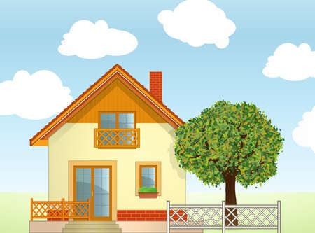 wooden window: Highly detailed Vector illustration of House and Tree