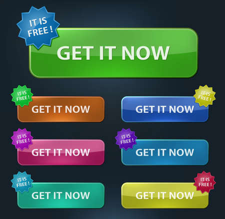 Vector web buttons set. Get it Now.