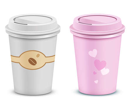 Coffee cups with lid and heart shapes. Valentines pink coffe cup. Vector