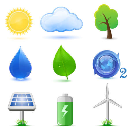 Eco icons. Highly detailed Vector icons. Ecological and environmental icons. Vector