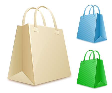 Collection of shopping bags. Empty paper shopping bags Vector