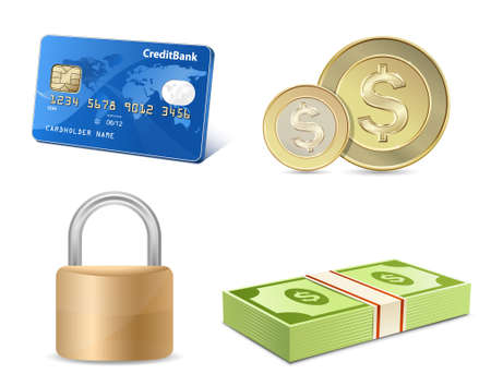 Vector finance icon set. Credit card, coins, banknotes, padlock. Vector