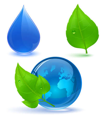 Globe and green leaves with drop of water. Blue water. Eco Concept. Stock Vector - 8702200