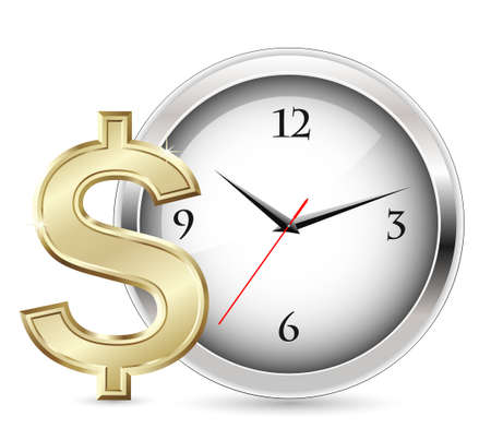 bringing home the bacon: Time is money. Office Clock and Dollar Sign.