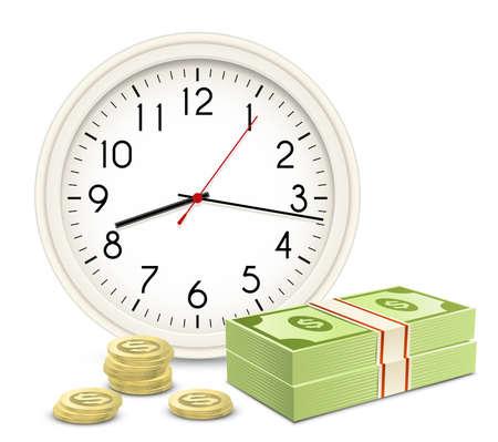 payout: El tiempo es dinero. Reloj de oficina y el dinero. Billetes y monedas.