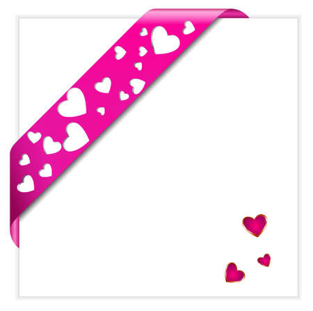 Heart shaped perforated Valentine pink ribbon Stock Vector - 8923742