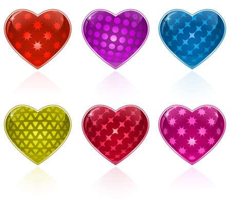 estrellas moradas: D�a de los enamorados. Brillante colecci�n de corazones. S�lo sencillo degradado utilizado