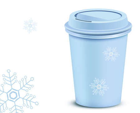 Christmas plastic coffee cup with lid Vector