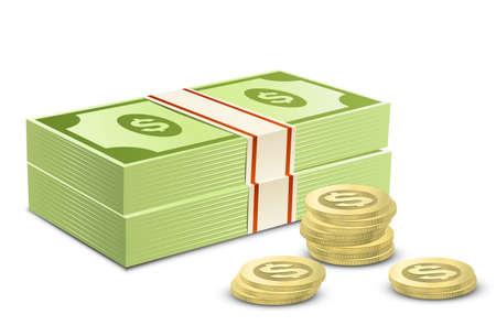 Paquete de dólares y monedas. Ilustración vectorial de dinero