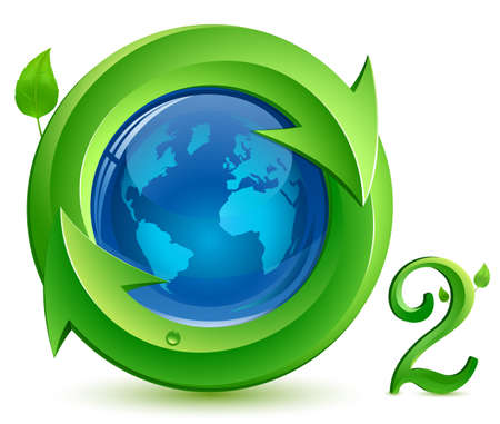 Oxygen. o2.  Eco Concept. Globe, arrows and green leaves with drop of water. Illustration