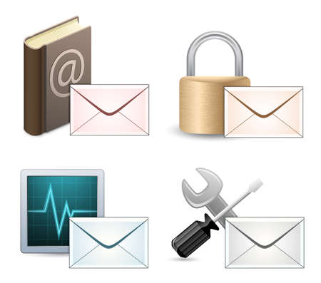 Mail Marketing Icon Set. Mail Envelopes with Reflection. Vector
