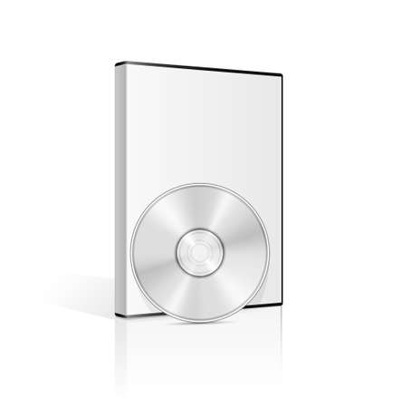 case: DVD case and disk on white background. Illustration