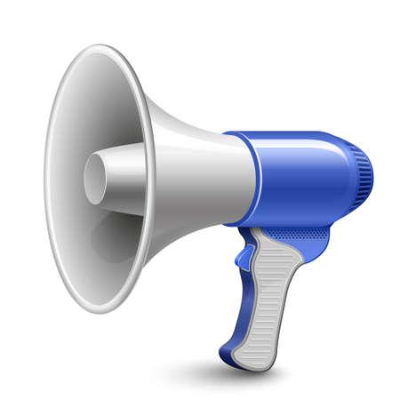 public speaker: Megaphone. Blue Loudspeaker.