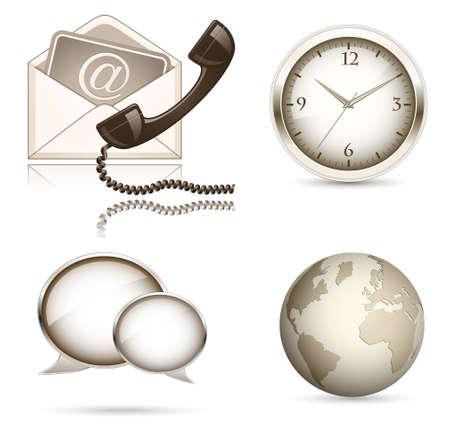 telephone box: Business website icon set. Illustration