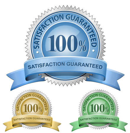 approval label: 100 % Satisfaction Guaranteed Signs.  Illustration