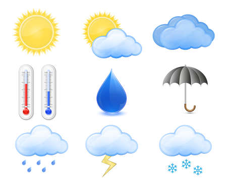 sunny cold days: Weather Forecast Icons. Outdoor Thermometer, Sun, Cloud, Rain.