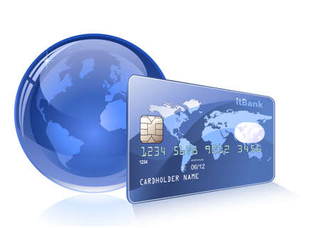 internet banking: Credit card with world map and Globe. Payment concept. Internet Banking. Illustration