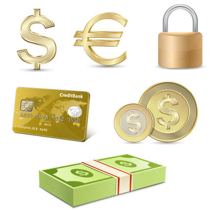 Vector finance icon set. Dollar and Euro signs, Credit card, coins, banknotes, padlock. Stock Vector - 9368487
