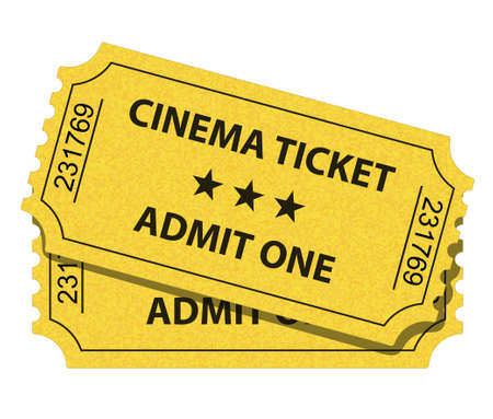 paper delivery person: illustration of cinema ticket