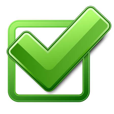 voting box: Casella di controllo verde con un segno di spunta