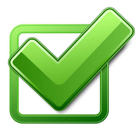 check mark sign: Green check box with check mark