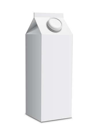 envase de leche: Cart�n de leche con tapa de rosca. Ilustraci�n vectorial de cuadro de leche blanca