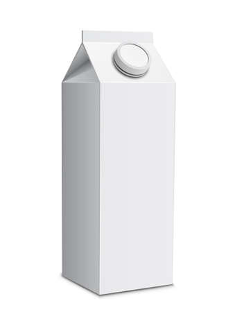 cartons: Milk carton with screw cap. Vector illustration of white milk box Illustration
