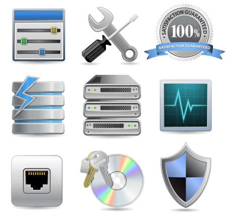 Web Hosting Icons for Hosting Panel Vector