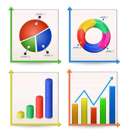 test results: Tabelle e grafici insieme. Illustrazione vettoriale Vettoriali