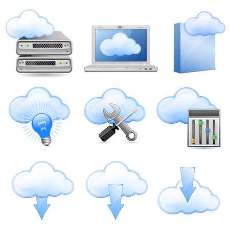 web host: Vector Icons for Cloud Hosting Illustration