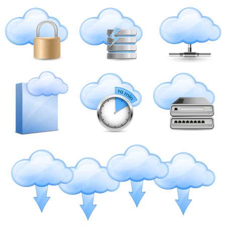 databank: Vector Icons voor Cloud Hosting Stock Illustratie