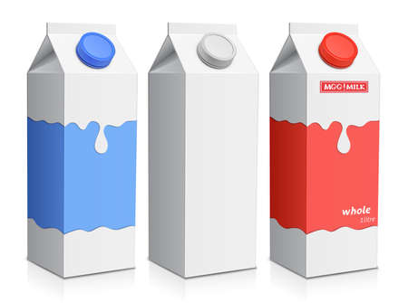 cartons: Collection of milk boxes. Milk carton with screw cap