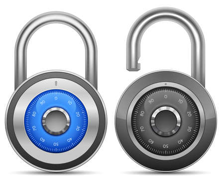 lock icon: Combination Lock Collection. Security Concept. Vector illustration of padlock Stock Photo