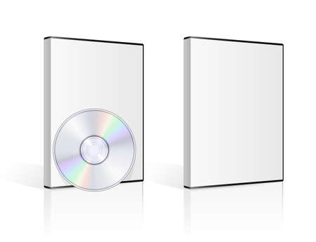 data storage device: DVD case and disk on white background. Vector illustration.