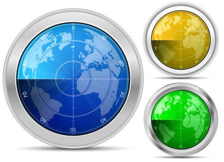 oscilloscope: Radar. Oscilloscope monitor with a world map. Vector Illustartion Stock Photo