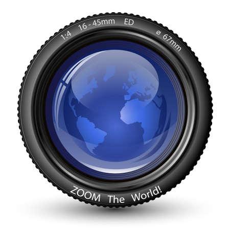 Acercar el mundo! Ilustración vectorial de la lente de la cámara con globo. Icono de TV Noticias Ilustración de vector