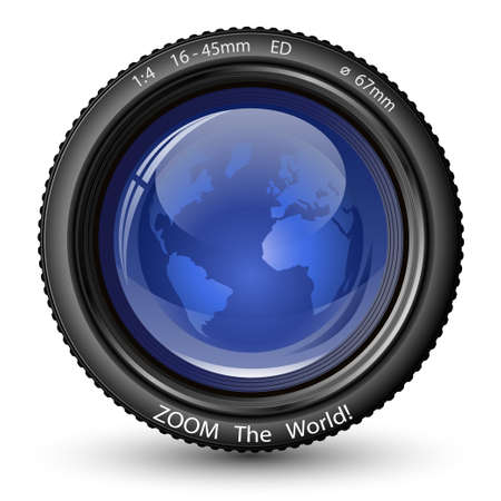 cam: Zoom the World! Vector illustration of camera lens with Globe. Icon for TV News
