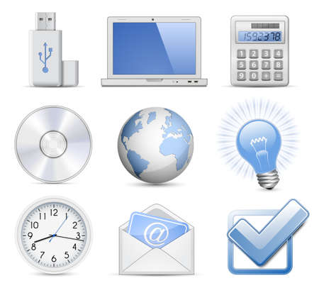 time account: Universal Web Icon Set - Office. Highly detailed vector icons Illustration