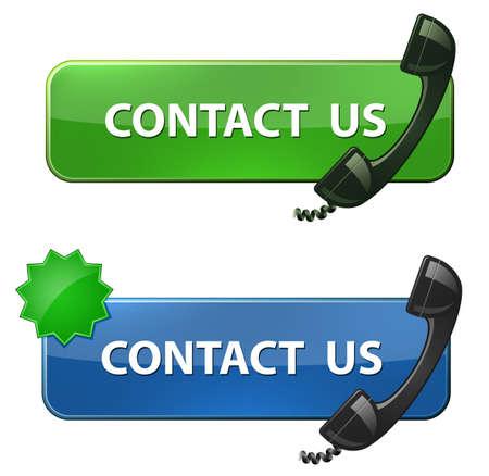 hotline: Neem contact met ons op Knoppen Stock Illustratie