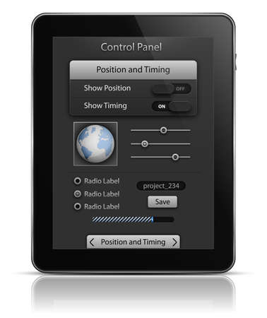 Tablet PC with UI elements. User interface template. illustration