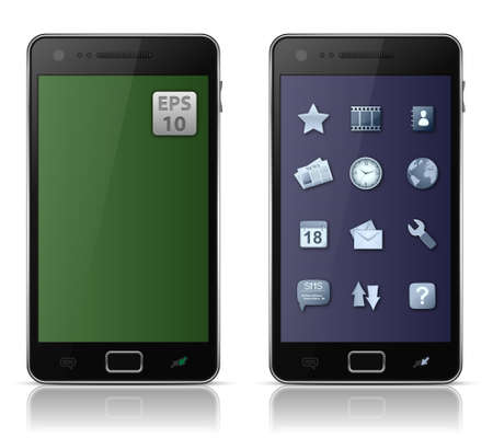 Mobile phone with icons.  illustration of smart phone Stock Vector - 9878226