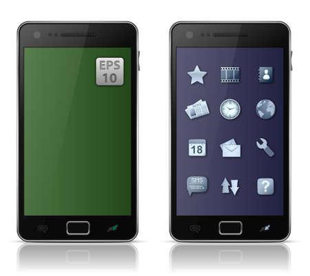speakerphone: Mobile phone with icons.  illustration of smart phone Illustration